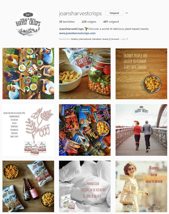 Social media strategie, Social media beheer - Joan's Harvest Crisps Instagram